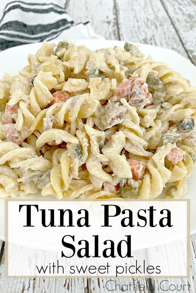 Tuna Pasta Salad with Sweet Pickles