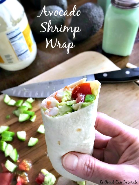 Don't let this healthy looking Avocado Shrimp Wrap fool you...it's not only good for you, but it's packed with protein, flavor, and low on calories.  It is extremely satisfying for lunch!