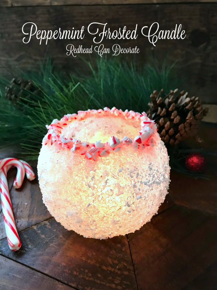 Peppermint Frosted Candle
