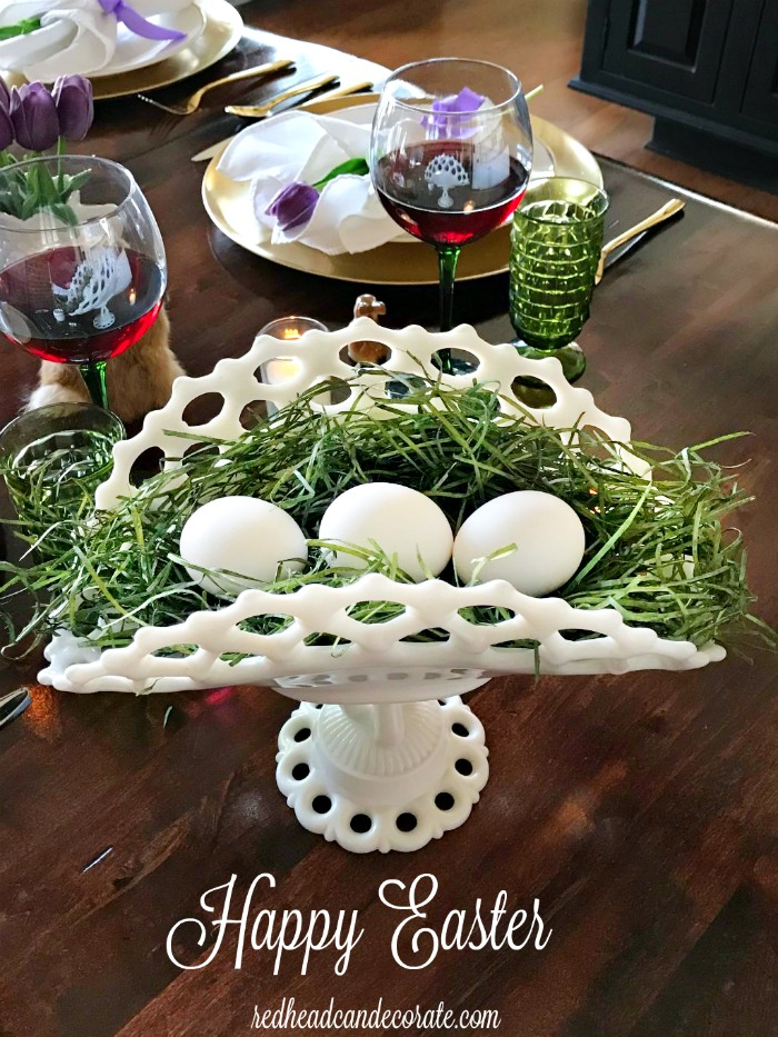 This Repurposed Hobnail Milk Glass set from the thrift store is used so elegantly in a Spring tablescape you won't believe the purple tulips are fake!