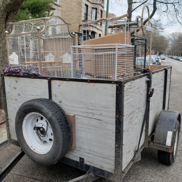 utility trailer filled with bird cages