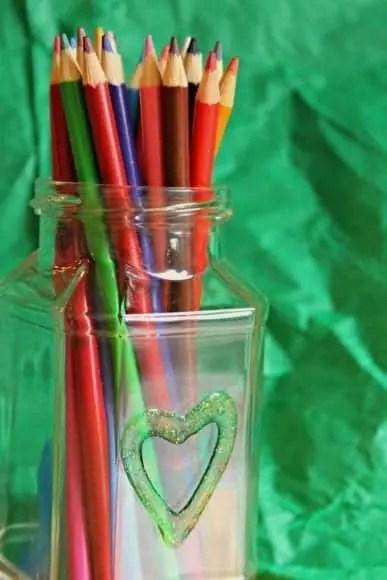 Glitter pencil jar