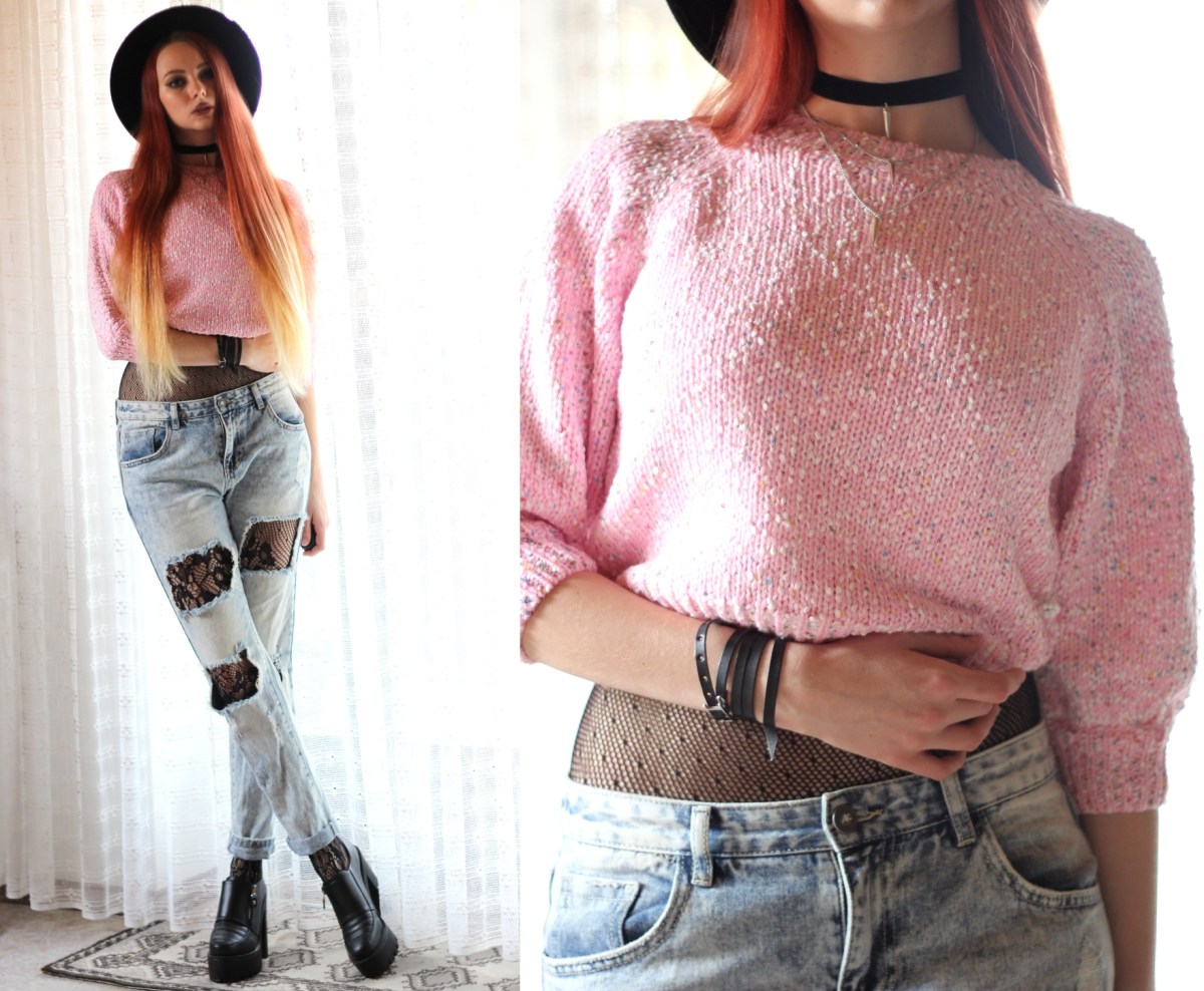 Cotton Candy: pink sweater, distressed jeans