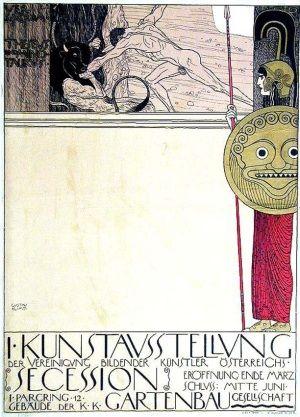 """""""Kunstausstellung Secession"""", póster de Gustav Klimt (1898)."""