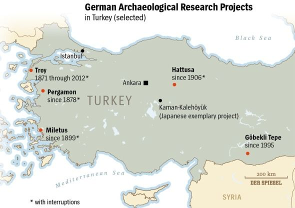mapa de excavaciones alemanas en turquia