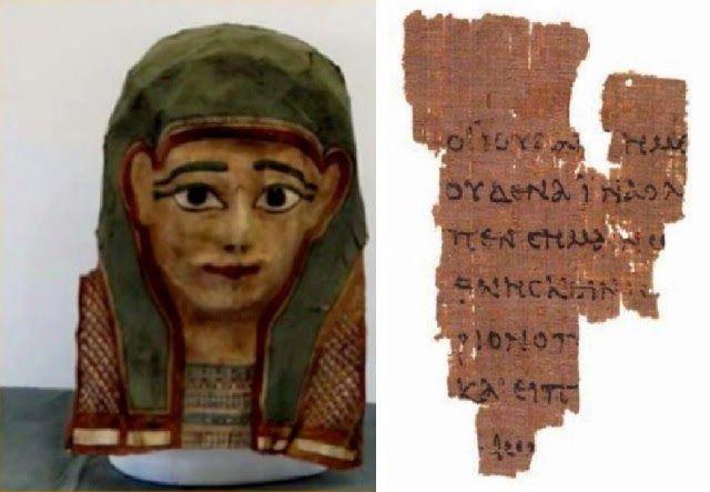 En esta máscara egipcia se descubrió un fragmento de la primera copia del Evangelio de Mateo