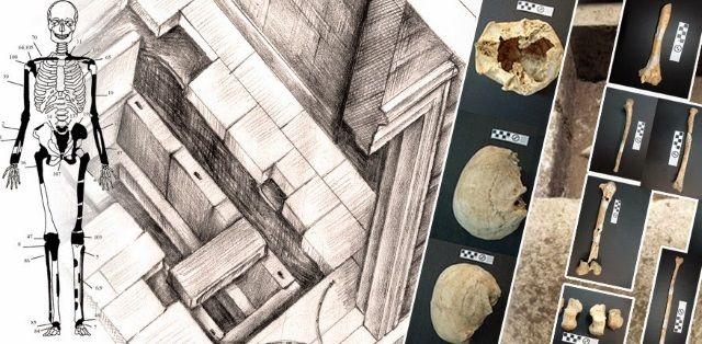 Representación y restos de la Tumba de Anfípolis.