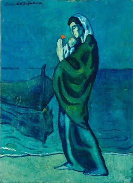 Madre e hijo junto al mar picasso