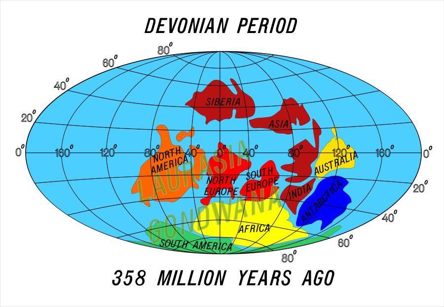 continentes periodo devonico