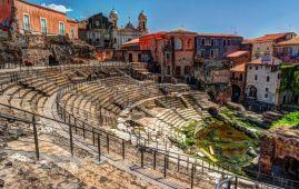 vista del anfiteatro romano de catania