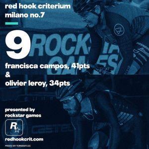 Francisca Campos (RAW Santafixie Team): 41 points Brooklyn No.9 (Qualifying: 8th / Race: 11th) London No.2 (Qualifying: 14th / Race: 4th) Barcelona No.4 (Qualifying: 6th / Race: 24th) ------------------------------------------------Olivier Leroy (Aventon Factory Team) 34 points Brooklyn No.9 (Qualifying: 17th / Race: 6th) London No.2 (Qualifying: 12th / Race: 12th) Barcelona No.4 (Qualifying: 6th / Race: 49th) r