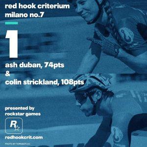 Ash Duban (Affinity Cycles) 74 points Brooklyn No.9 (Qualifying: 12th / Race: 2nd) London No.2 (Qualifying: 10th / Race: 3rd) Barcelona No.4 (Qualifying: 13th / Race: 9th) ---------------------------------------------------Colin Strickland (Allez-Allez Specialized) 108 points Brooklyn No.9 (Qualifying: 12th / Race: 1st) London No.2 (Qualifying: 8th / Race: 1st) Barcelona No.4 (Qualifying: 1st / Race: 1st)