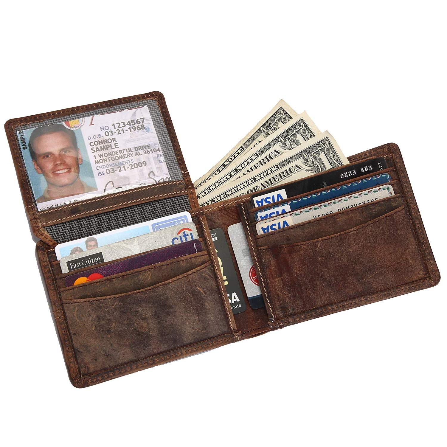 100/% Genuine Leather Black Men/'s Wallet Tri-Fold