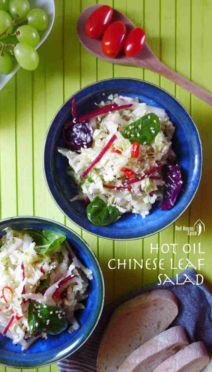 A simple Chinese leaf salad, crispy, garlicky, spicy and extremely healthy. This recipe shows you how to make a flavour-packed hot oil dressing.