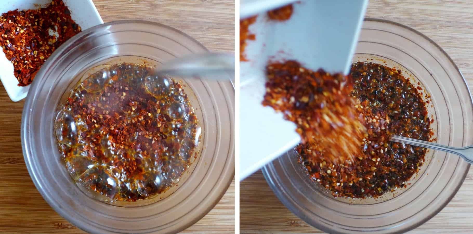 Effortless and effective recipe for homemade Chinese chilli oil, an essential condiment for Chinese cuisine. Great company for noodles, dumplings and salad.