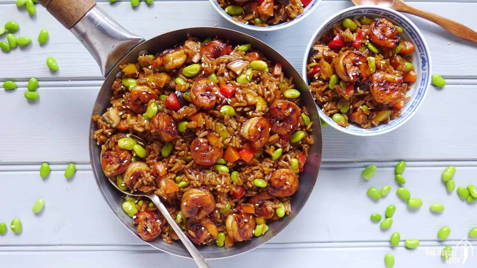 Chinese soy sauce rice pilaf (酱油炒饭)