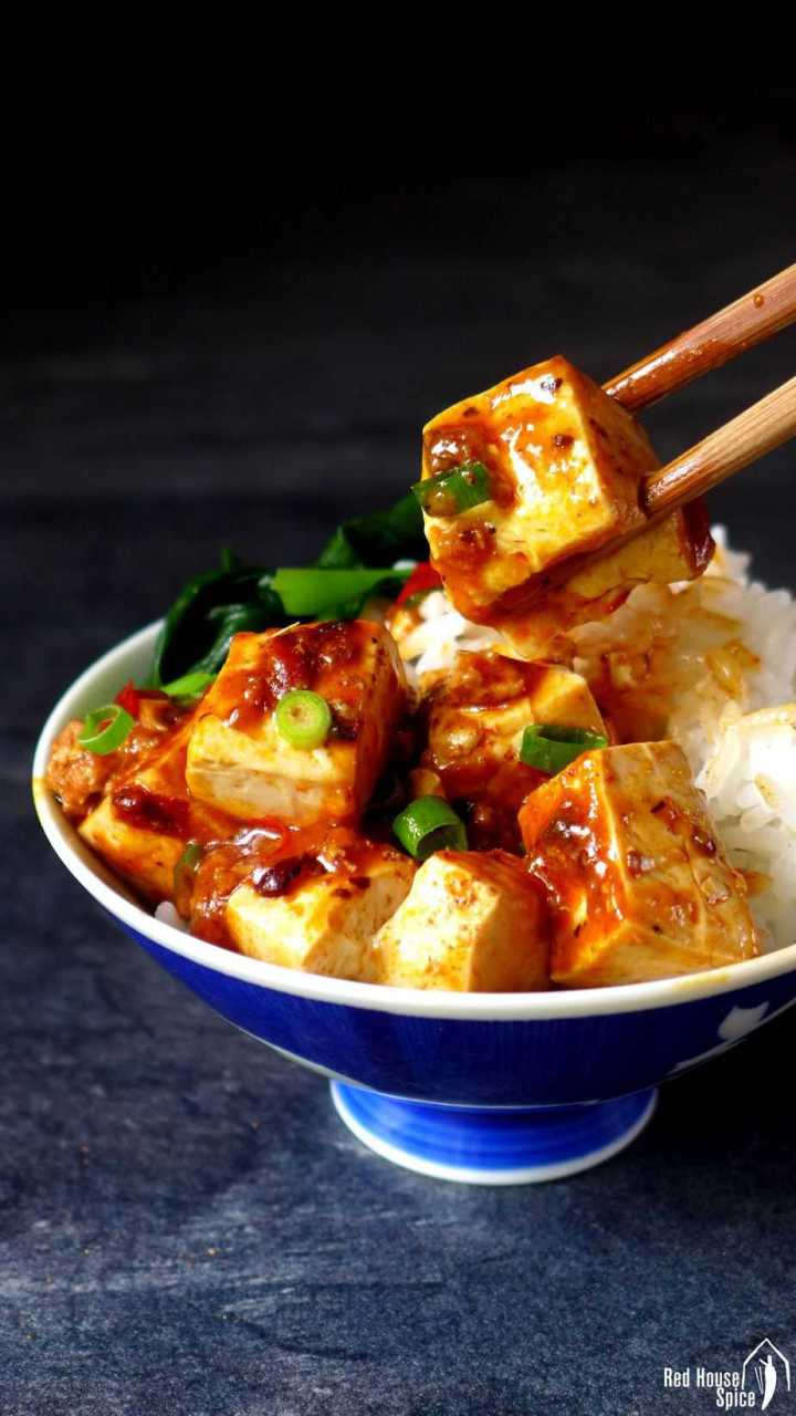 Mapo tofu over a bowl of plain rice