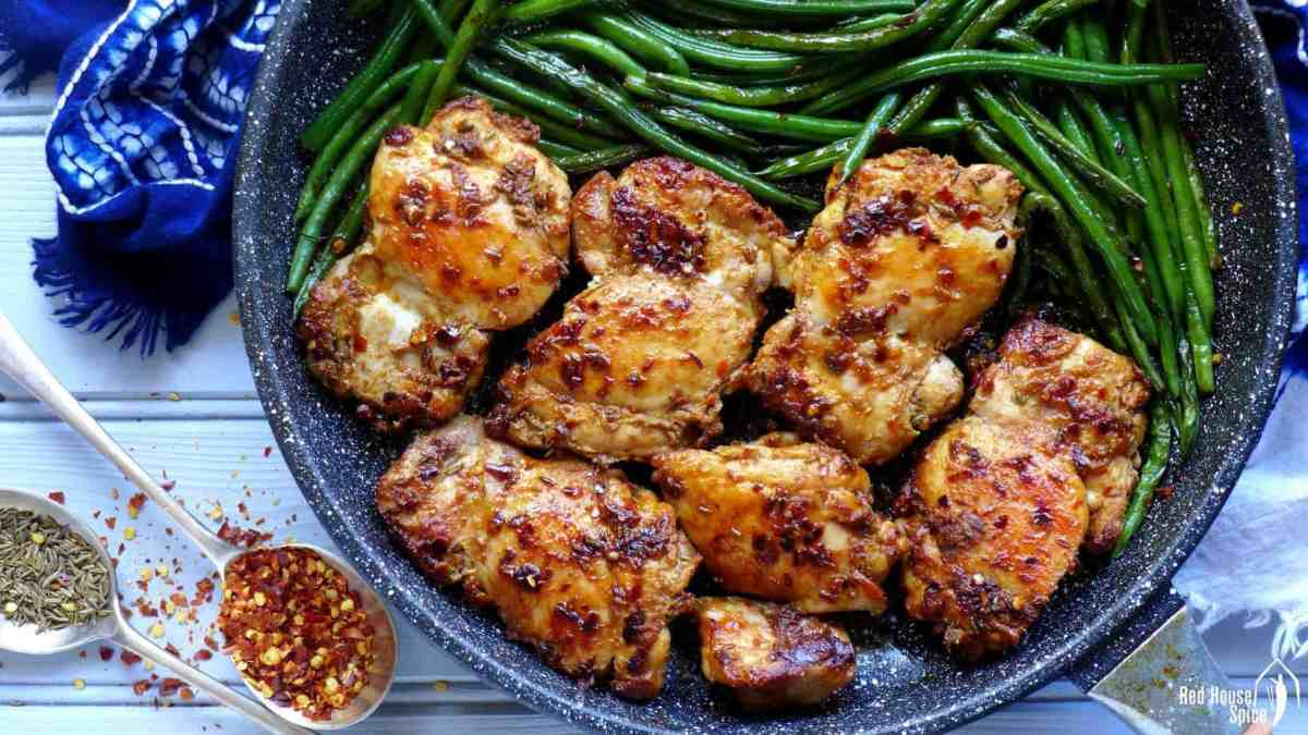 Spicy cumin chicken thighs with green beans