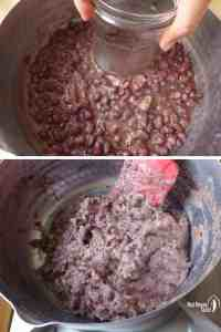 making chunky red bean paste