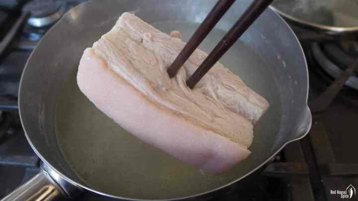a piece of boiled pork belly