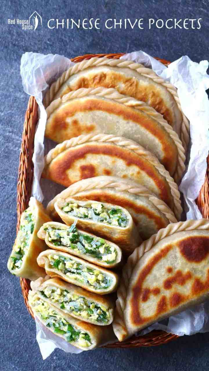 Pan fried flat dumplings filled with fragrant Chinese chive, soft scrambled eggs and springy vermicelli noodles, Chinese chive pockets are simply irresistible.