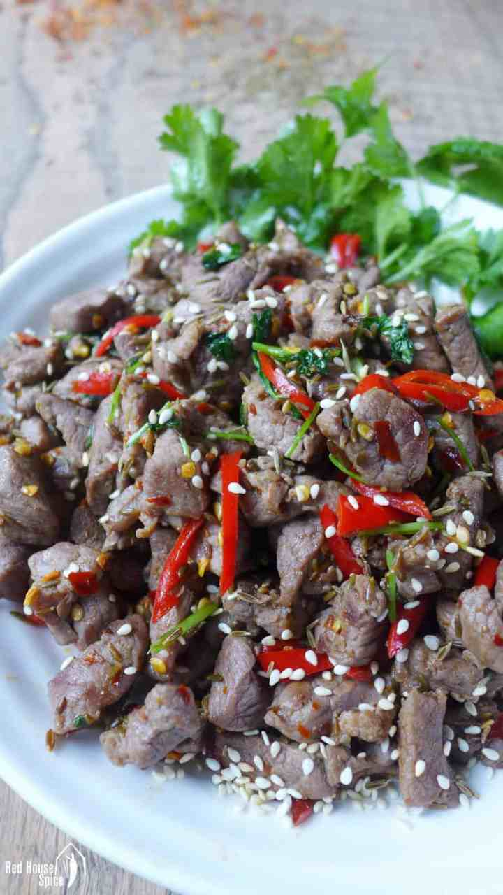 A plate of spicy cumin lamb stir-fry