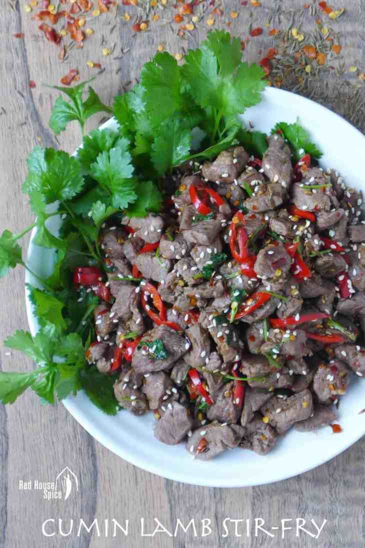 Diced lamb stir fried and seasoned with chilli and cumin then garnished with coriander.