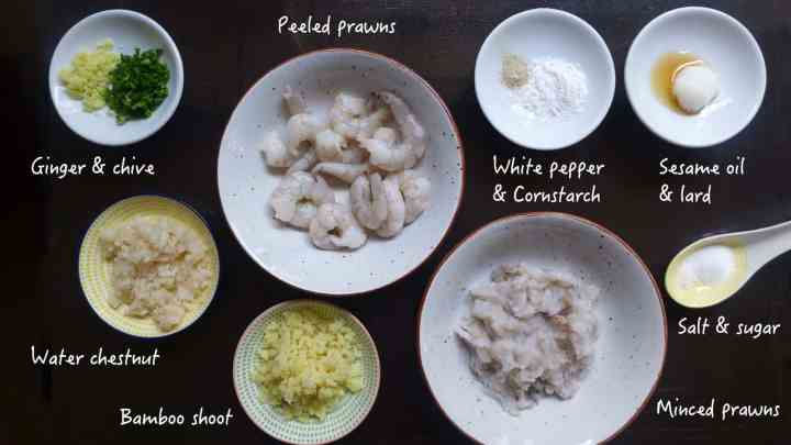 Ingredients for making Har Gow, crystal shrimp dumplings