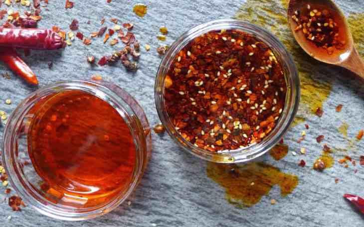 Homemade Chinese chilli oil used in Liang Pi (cold skin noodles).
