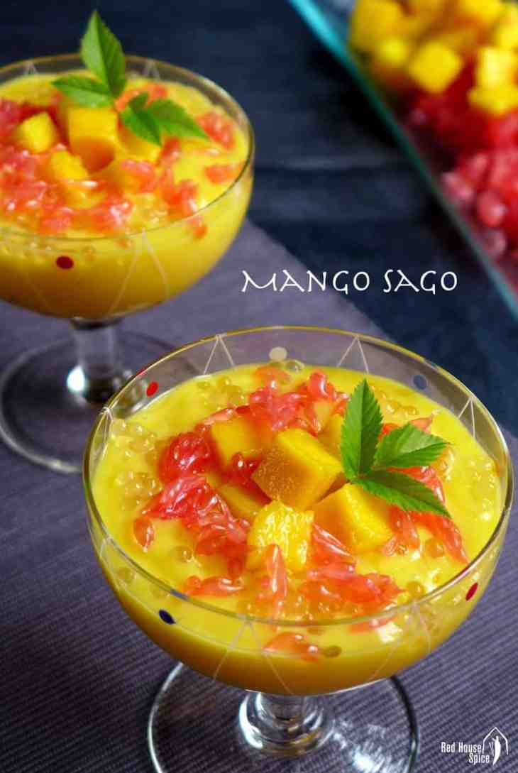 Smooth mango puree flavoured with coconut, garnished with grapefruit and accompanied by soft tapioca pearls, mango sago is such a delectable treat!