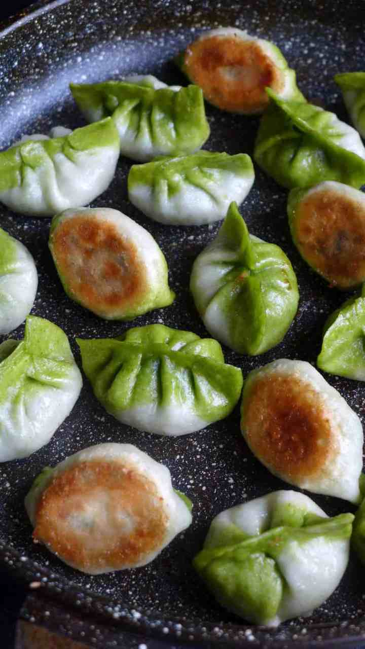 Delectable on the palate and pleasing on the eyes, pan-fried vegetarian dumplings are filled with vegetables and resemble vegetables.