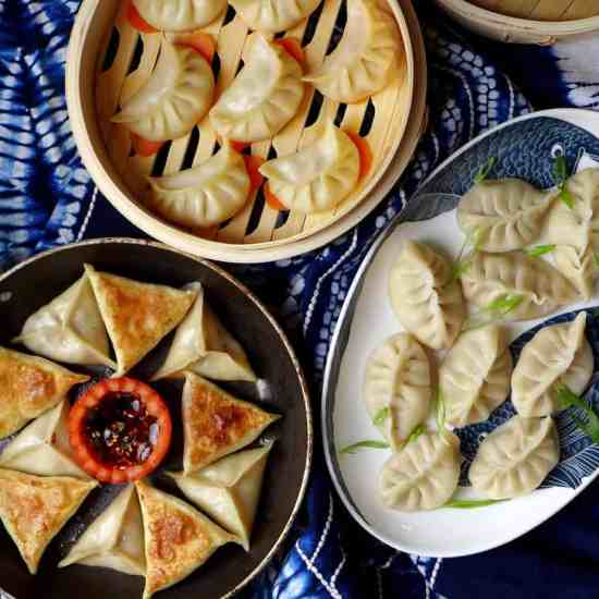 dumplings cooked in three ways: boiled, pan-fried and steamed.