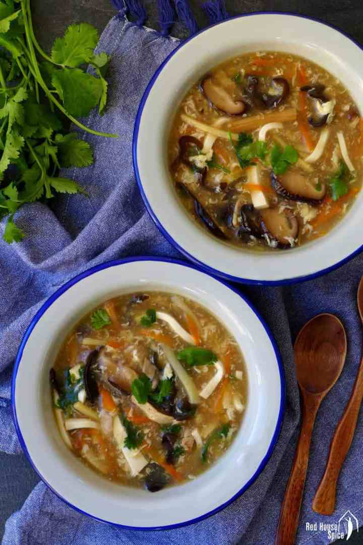 Two bowls of hot & sour soup