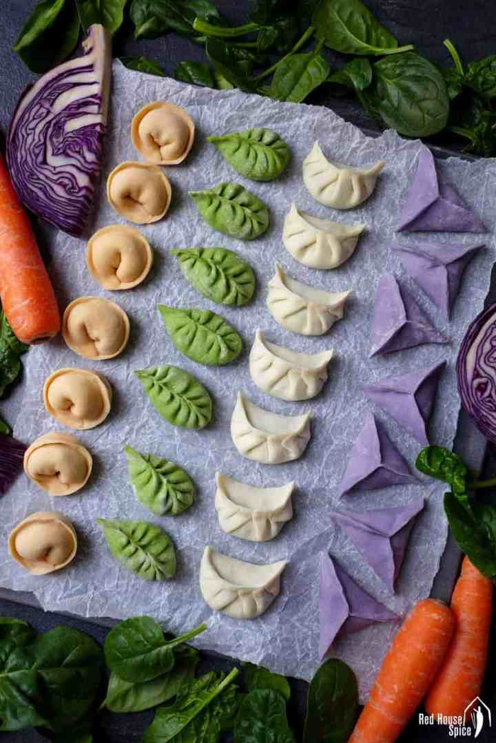 Dumplings in four colours and four shapes.