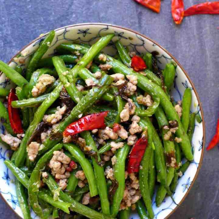 Green beans stir fried with minced meat and chillis