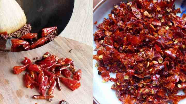 Dried chillies fried and chopped