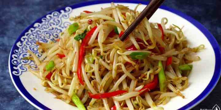 A plate of mung bean sprout stir-fry