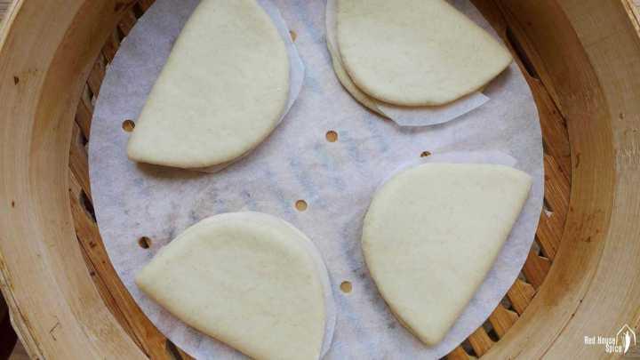 Gua Bao buns in a steamer.
