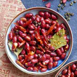 A plate of Sichuan spicy peanuts