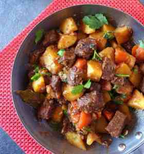 A pot of Chinese beef stew with potato & carrot