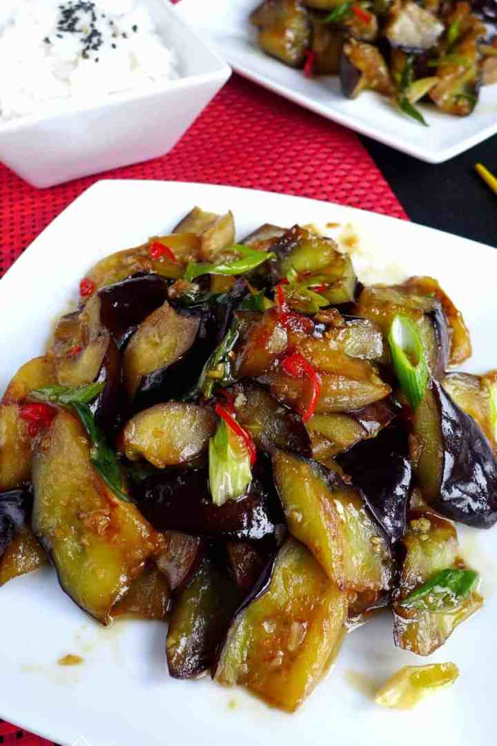 Aubergine with plum sauce