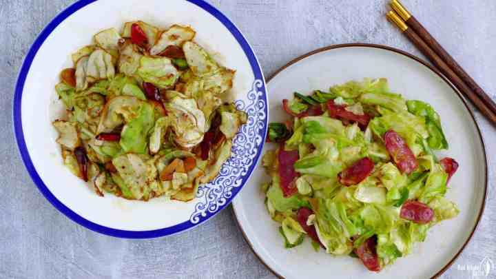 cabbage stir-fried in two ways