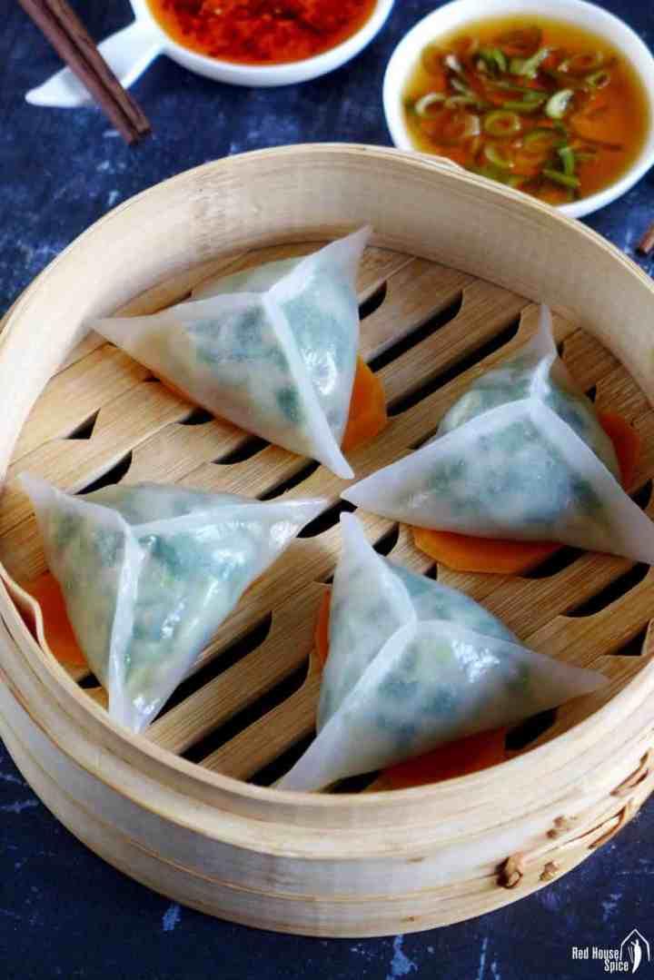 Crystal dumplings in a steamer basket