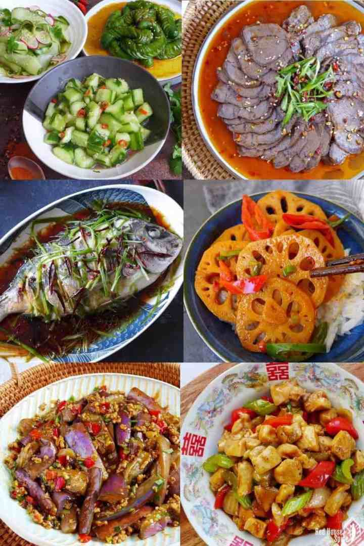 Six classic Chinese dishes: steamed fish, cucumber salad, beef shank appetiser, spicy lotus root, eggplant with garlic sauce & black pepper chicken