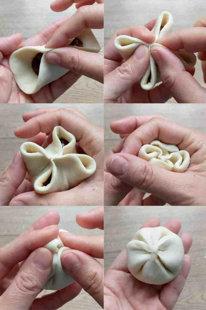 Folding a char siu bao
