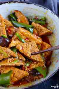 fried and braised tofu in Sichuan style