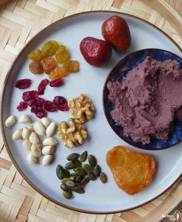 Dried fruits, nuts and red bean paste
