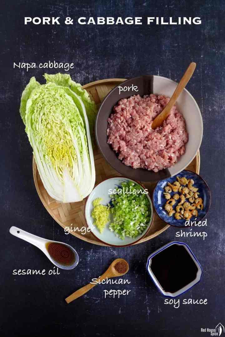 ingredients for making pork cabbage dumpling filling