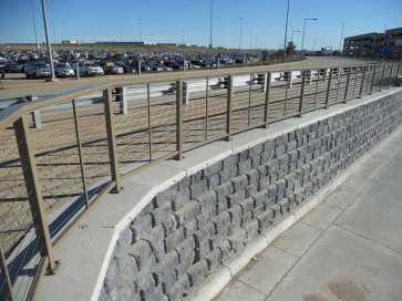 Redi-Rock Parking Structure Ramp Retaining Wall - Cobblestone