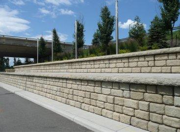 Redi-Rock cobblestone texture retaining walls